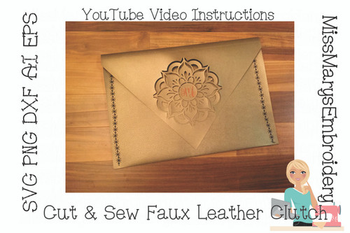 Mandala Faux Leather Clutch