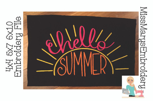 Hello Summer Embroidery