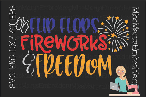 Flop Flips, Fireworks & Freedom SVG