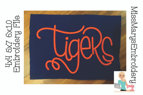 Tiger Hand Lettered Embroidery