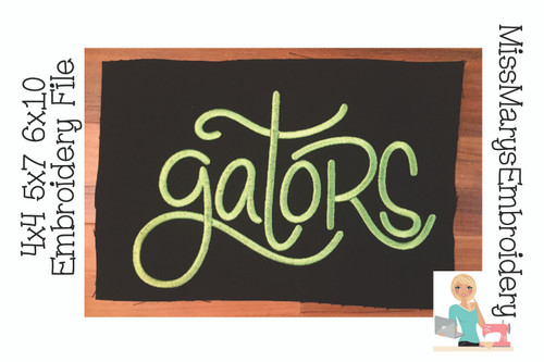 Gator Hand Lettered Embroidery