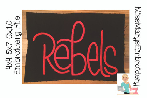 Rebel Hand Lettered Embroidery