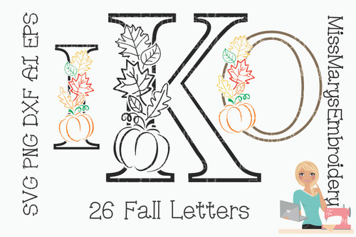 Fall Leaf Letters SVG