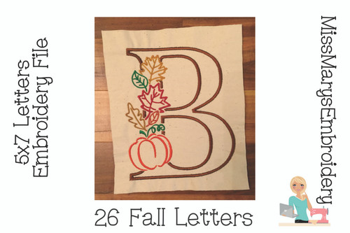 Fall Letters Embroidery