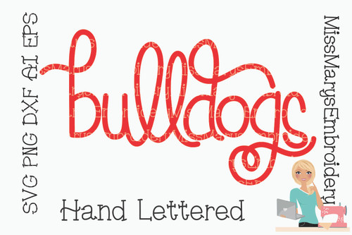 Hand Lettered Bulldogs SVG