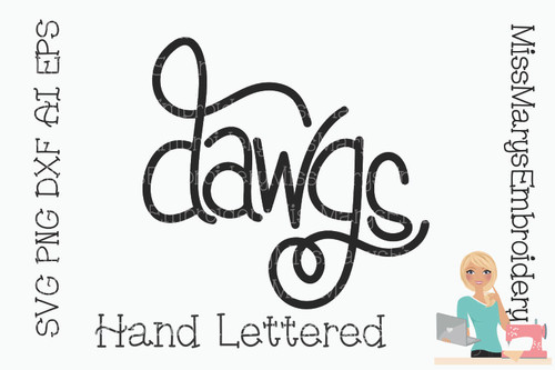 Hand Lettered Dawgs SVG