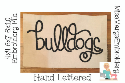 Bulldogs Hand Lettered Embroidery