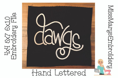 Dawgs Hand Lettered Embroidery