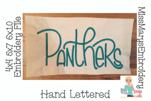 Panthers Hand Lettered Embroidery