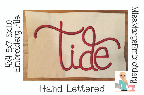 Tide Hand Lettered Embroidery