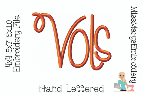 Vols Hand Lettered Embroidery