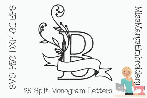 Ribbon Split Monogram Letters