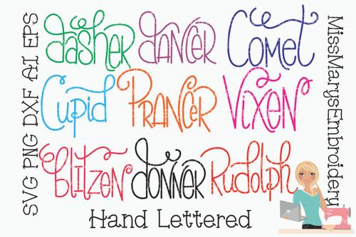 Hand Lettered Reindeer Names