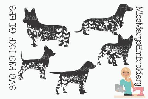 Floral Dogs SVG