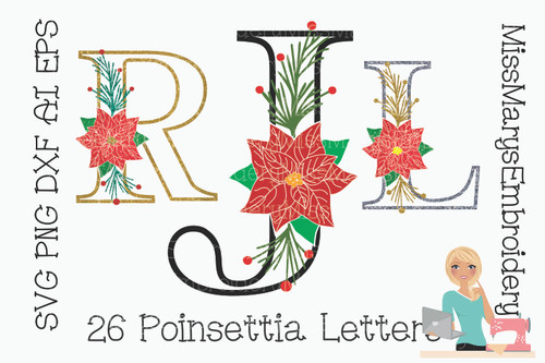 Poinsettia Letters SVG 2