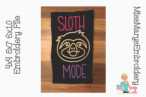 Sloth Mode Embroidery
