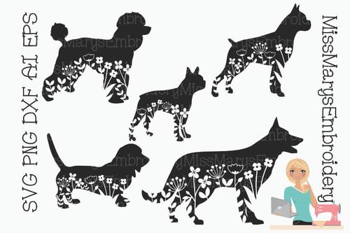 Floral Dogs set 2 SVG