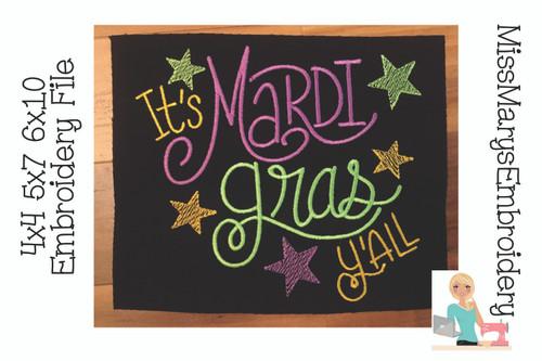 Mardi Gras Y'all Embroidery 2