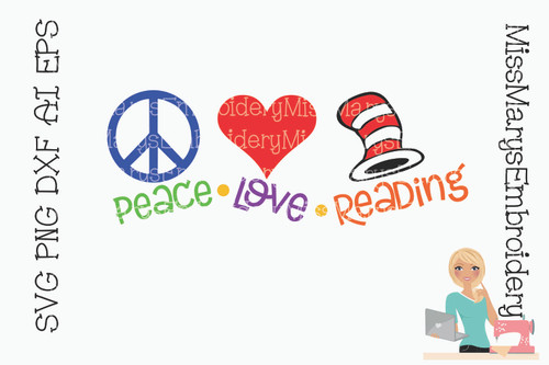 Peace Love Reading SVG