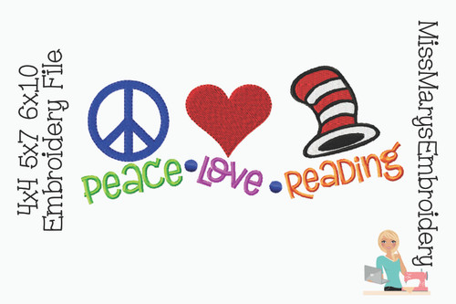 Peace Love Reading Embroidery