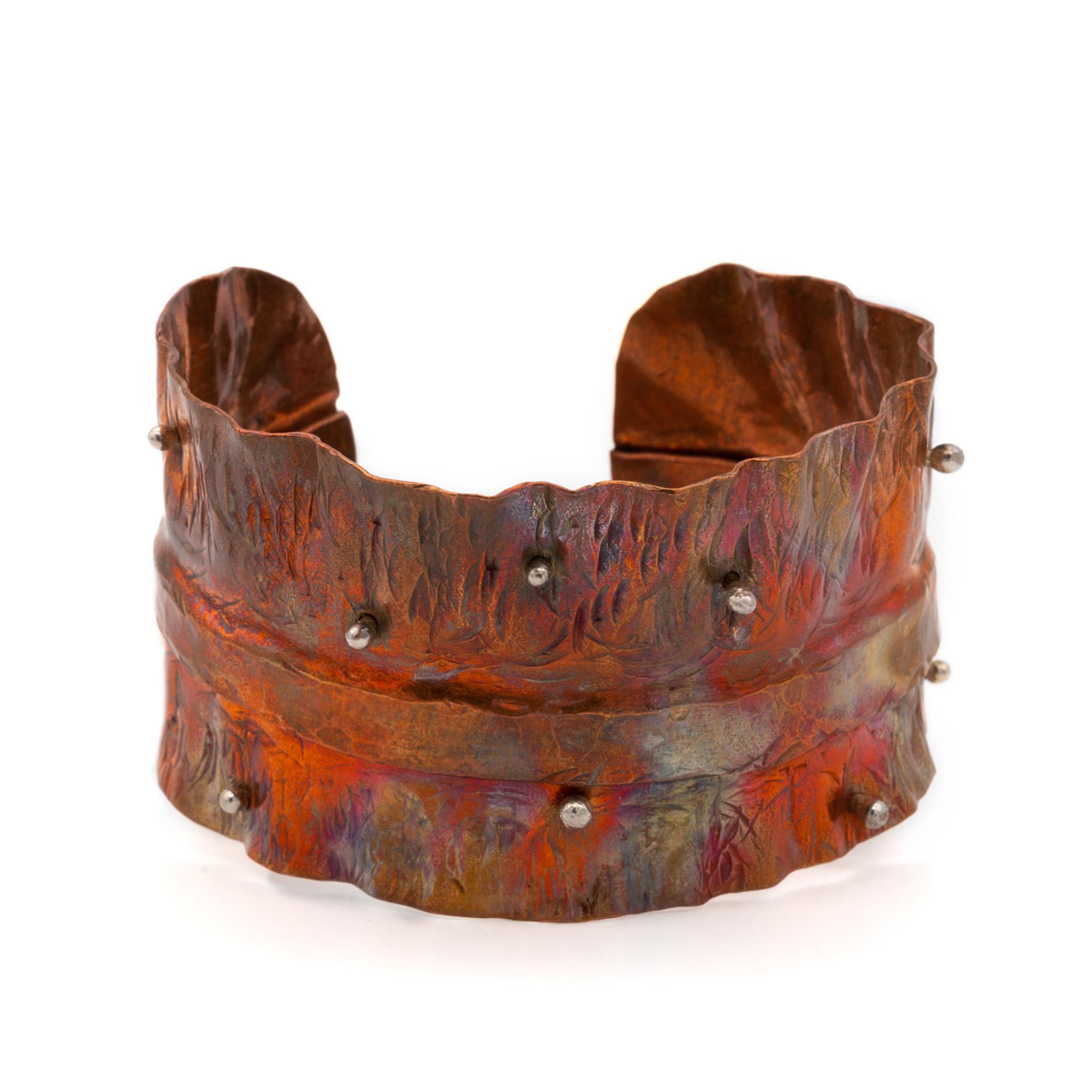 Torn Copper Cuff Brutalist Cuff Bracelet Fire painted Copper