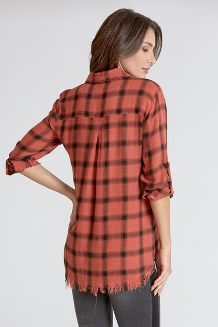 Emily Plaid Coral Shirt
