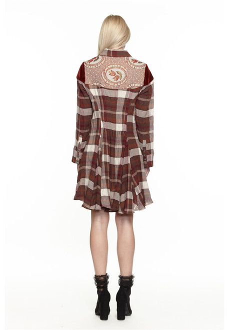 Plaid and Velvet Tunic Top