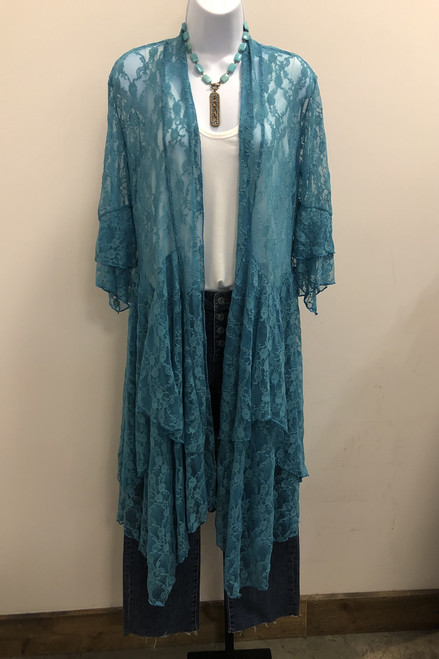 Turquoise lace duster