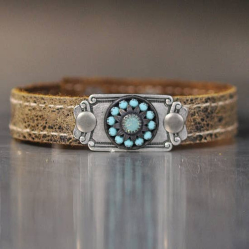 Weathered Brown Leather Bracelet