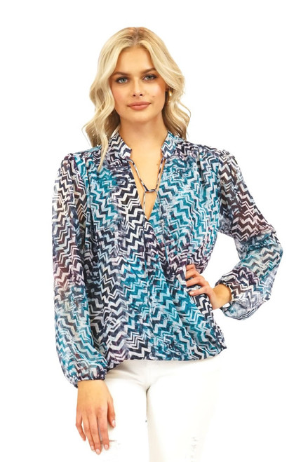 Crepe surplice top with sheer sleeves in Whisper print