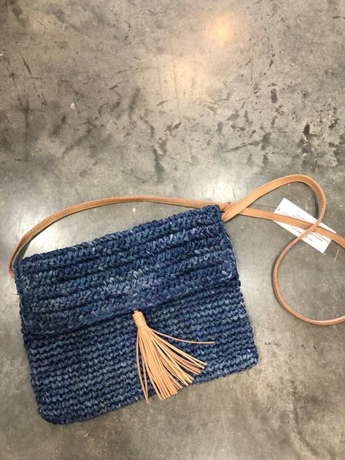 Crossbody Straw & Leather Bag