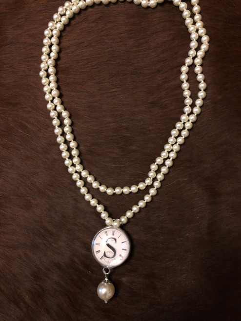 Clock Pearl Initial Necklace