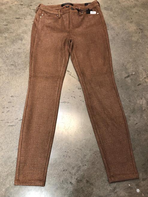 Tan tweed skinny ankle jeans