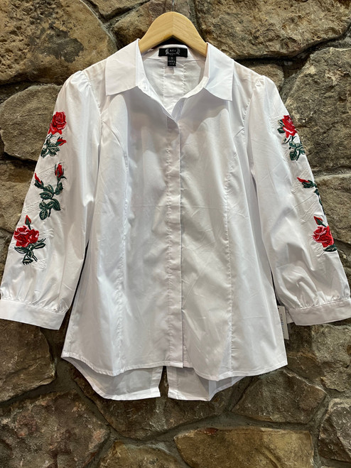 Rose embroidered shirt