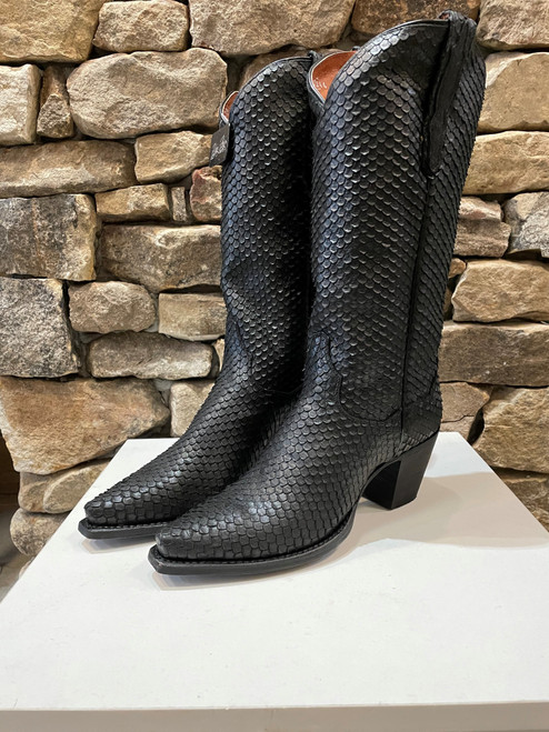 Faux python leather boots