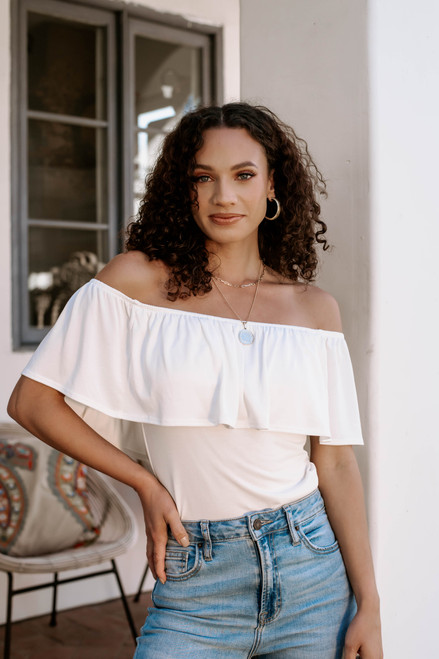Ruffle off the shoulder body suit