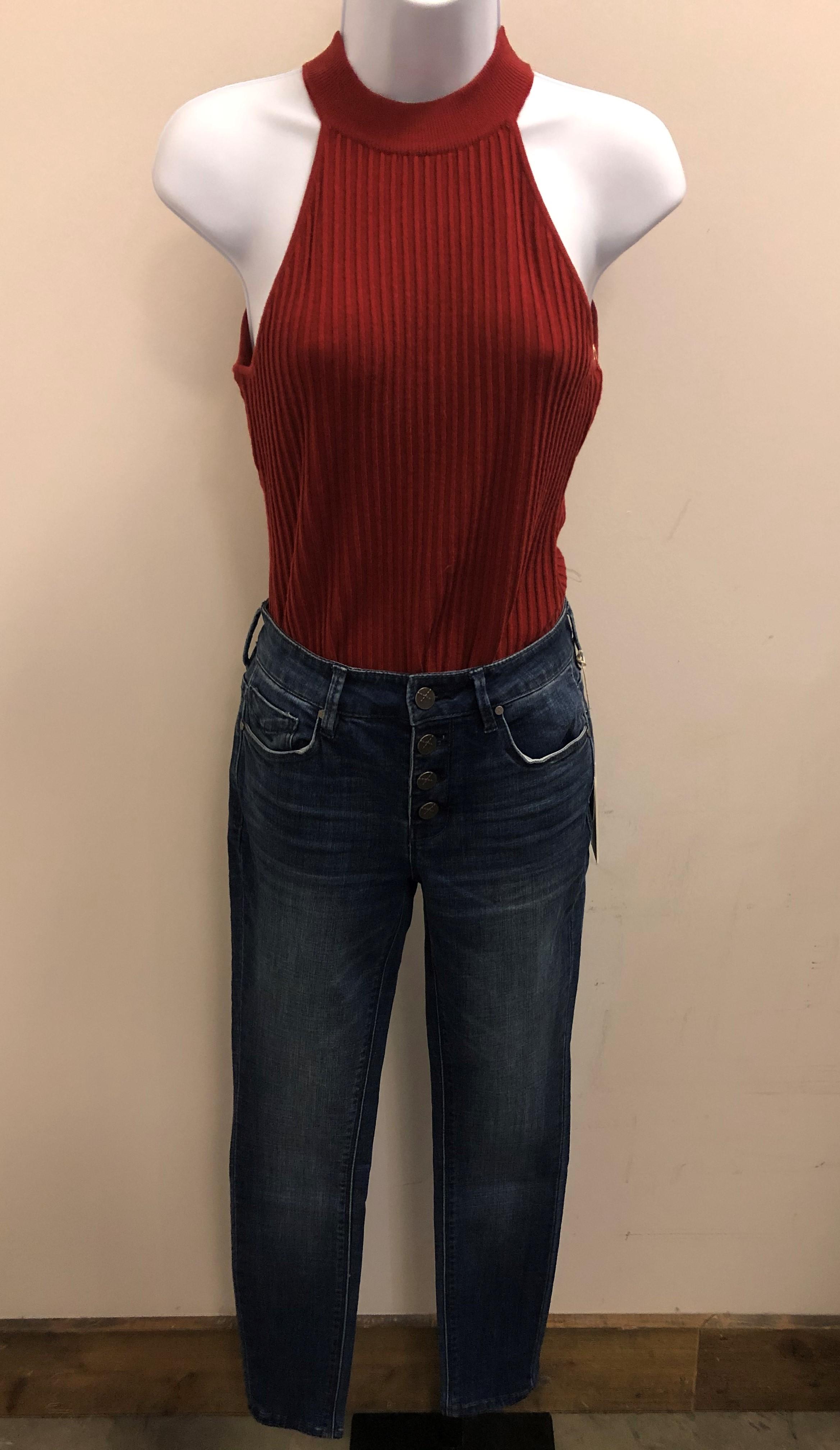 Ribbed Garnet Halter Sweater