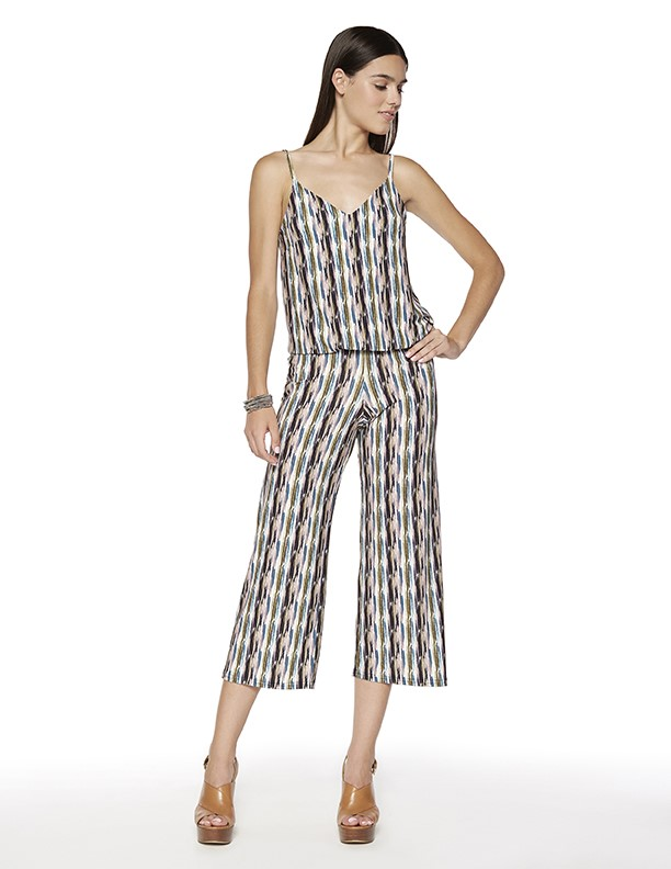 Punk Cropped Jumpsuit in Hockey Print