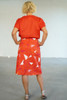 Full length back view with Elle Top Coral tucked in