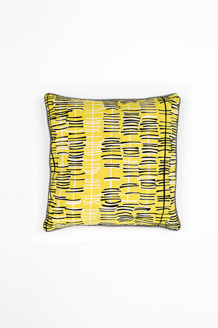 45cm square Cushion Cover  - Stick- lemon/black
