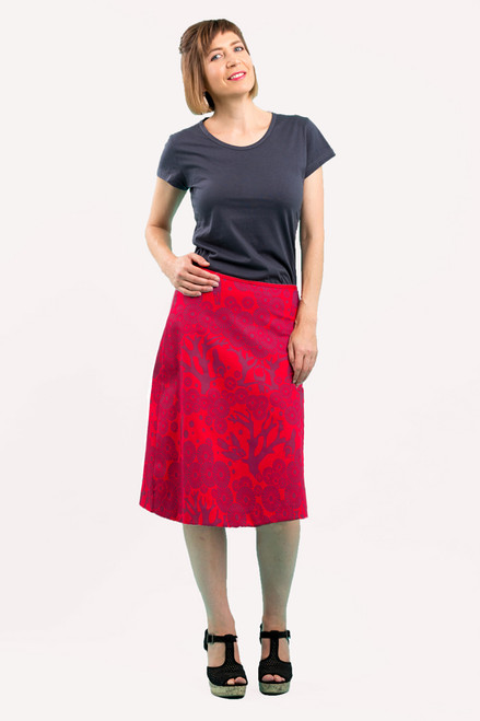 A-line Skirt - Mikko red/berry (long)