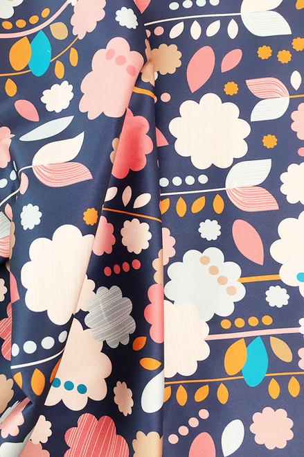 Stretch cotton sateen   Daisy pop $40/mt