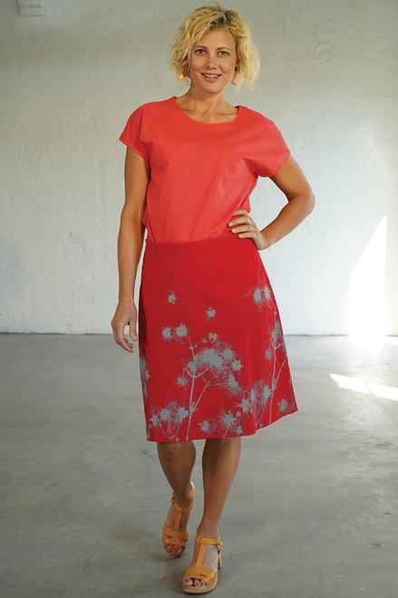 A-line skirt short   dispersal red/dove