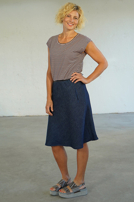 Full length front view with Bobby Top navy/pink