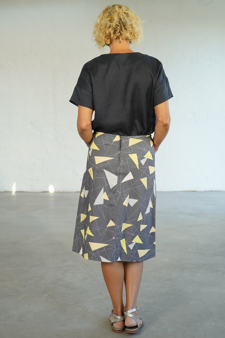 Full length back view with Elle Top Smoke tucked in