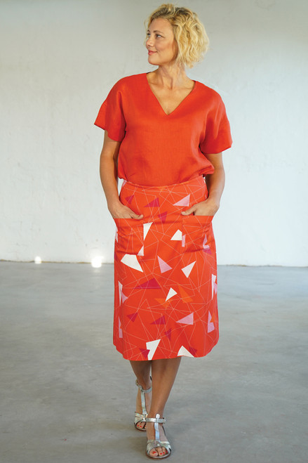 Full length front view with Elle Top Coral tucked