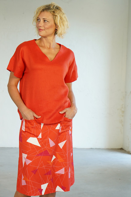 Front view with Elle Top Coral untucked