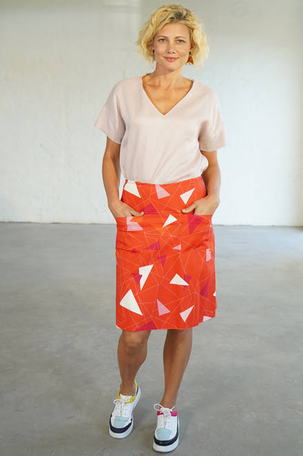 Full length front view with Elle Top tucked in