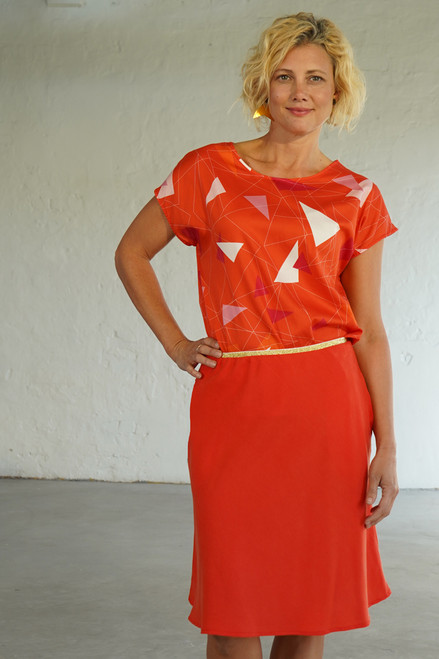 Front view with Evie Bias Skirt Short Coral