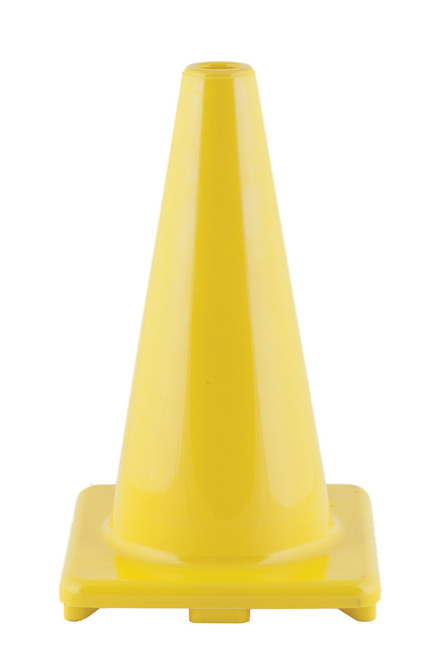18 INCH HIGH VISIBILITY FLEXIBLE VINYL CONE YELLOW